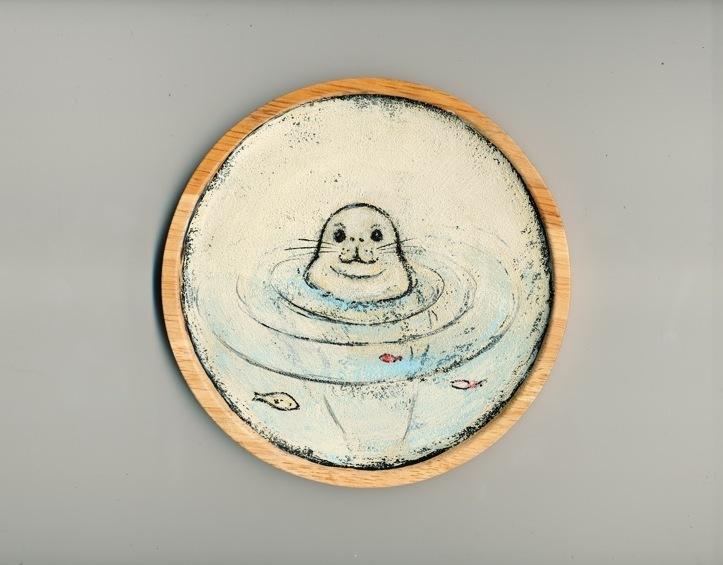 飾り皿 モンクアザラシ(イベント販売用)