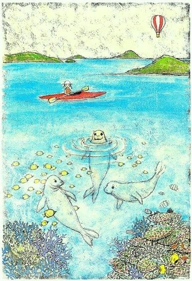 海の中のモンクアザラシ  (オリジナル作品)